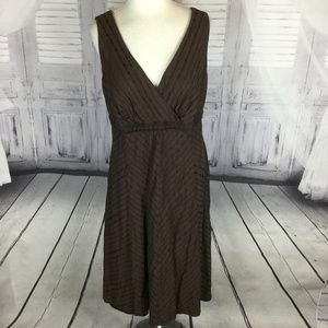 Brown Sleeveless V Neck Crossover Midi Dress 14W